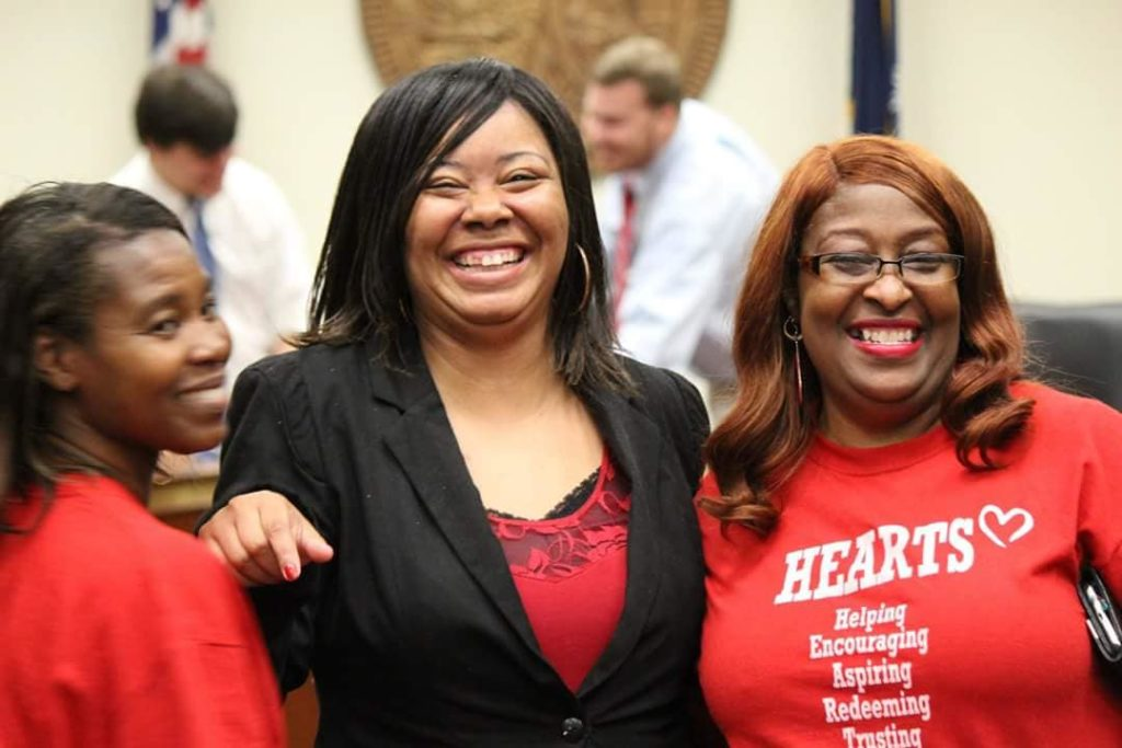 Hearts for Inmates, a South Carolina-based group founded by Erica Fielder (center), advocates for lowering the state's truth-in-sentencing law from 85% to 65% for all offenses. Photograph courtesy of Hearts for Inmates.