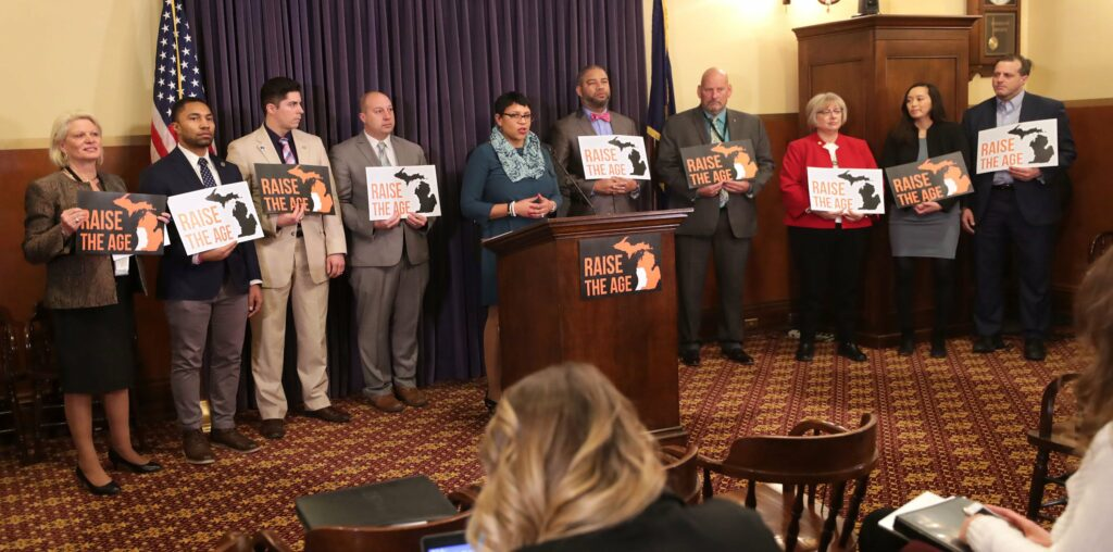 "Michigan lawmakers hosted a press conference to ""Raise the Age"" in February 2019. Photo Credit: Twitter: @MISenDems"